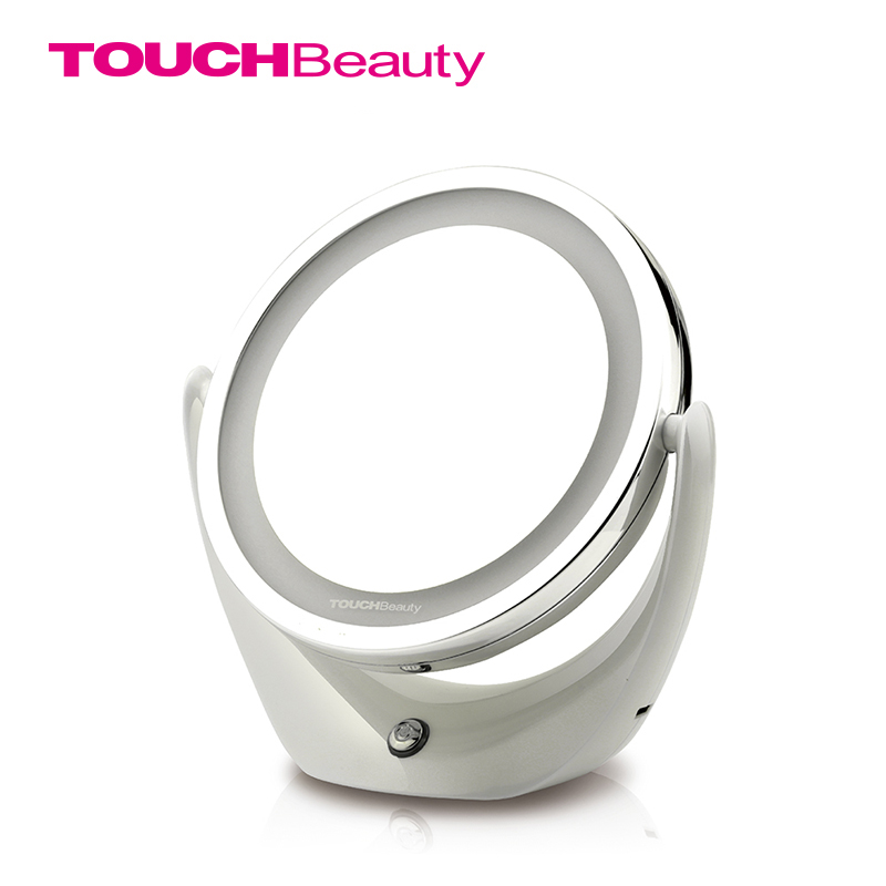 TOUCHbeauty Brand USB Rechargeable 360 Rotary Makeup Cosmetic Mirror 2 Sides 5 Times Magnifier Led Ring Light Mirror ! TB-1276(China (Mainland))