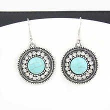 Vintage Silver Plated Turquoise Drop Earrings Round Rhinestone Earrings Bohemian Earrings for Women Jewelry Gift 2016 ers-g37(China (Mainland))