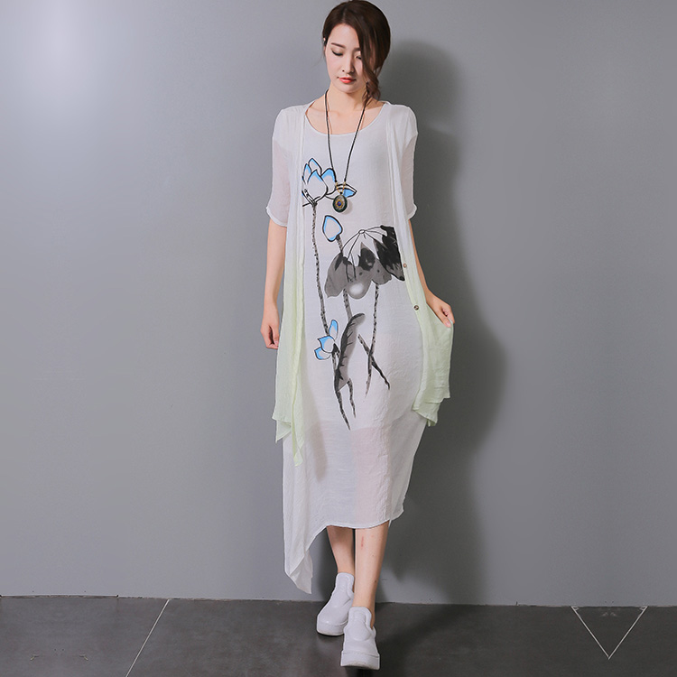 2016 Summer Ink Leaf Print Women Long Dress Cotton Linen Loose Plus Size Two Pieces O-neck Short Sleeve Designs Women Dresses(China (Mainland))