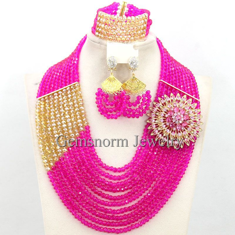 Fabulous Pink Gold African Wedding Beads Women Jewelry Set Indian Bridal Jewelry Set New Free Shipping WB520(China (Mainland))