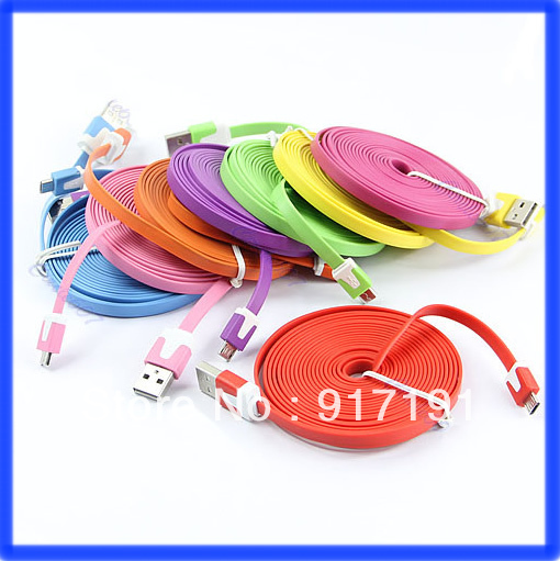 2PCS/LOT USB Data Sync Charging Charge Cable 3m Flat Type Micro 5 Pin For Samsung HTC Free Shipping(China (Mainland))