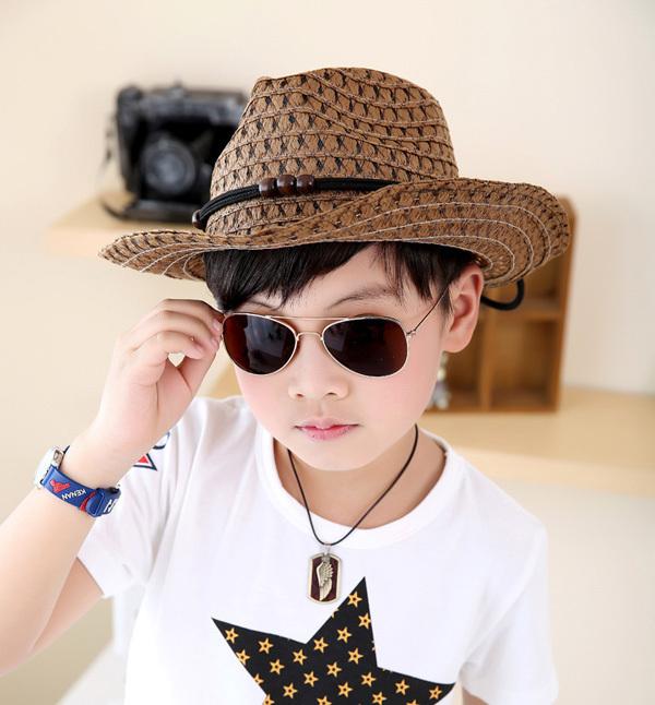 Retail 2015 NEW Summer Fashion Children's Straw Hat Baby Jazz Hat Kids Cowboy Hat Visor Caps Sun Hat 10 colors(China (Mainland))