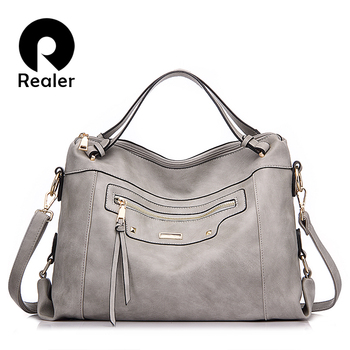 REALER Brand 2016 Fashion Women Tote Bag Artificial Leather Women Solid Bag Ladies Messenger Bag