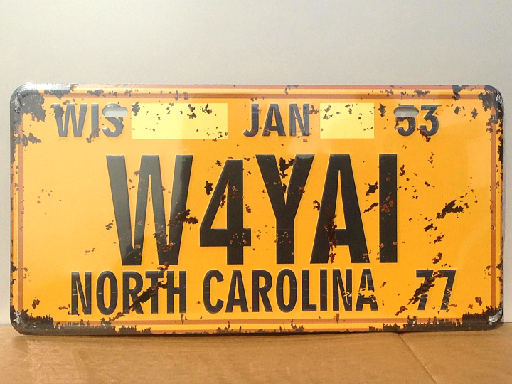 "Direct selling RZ1530-059 Vintage license plate ""W4YAI"" Tin sign metal painting art for home bar pubs decoration 15x30CM(China (Mainland))"