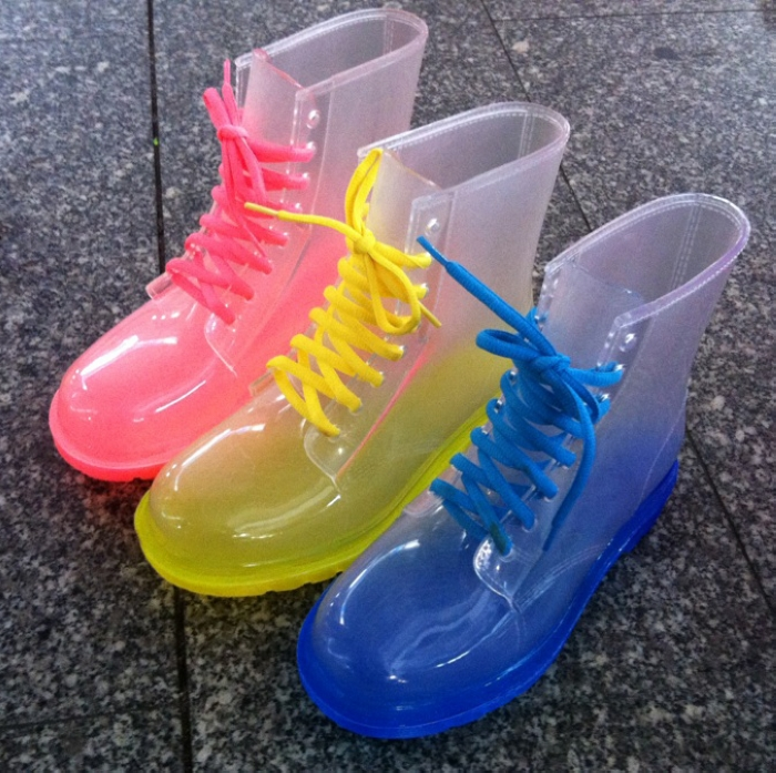 size:36-40,2014 spring and summer light bright color boots martin boots rainboots transparent rain boots women shoes(China (Mainland))