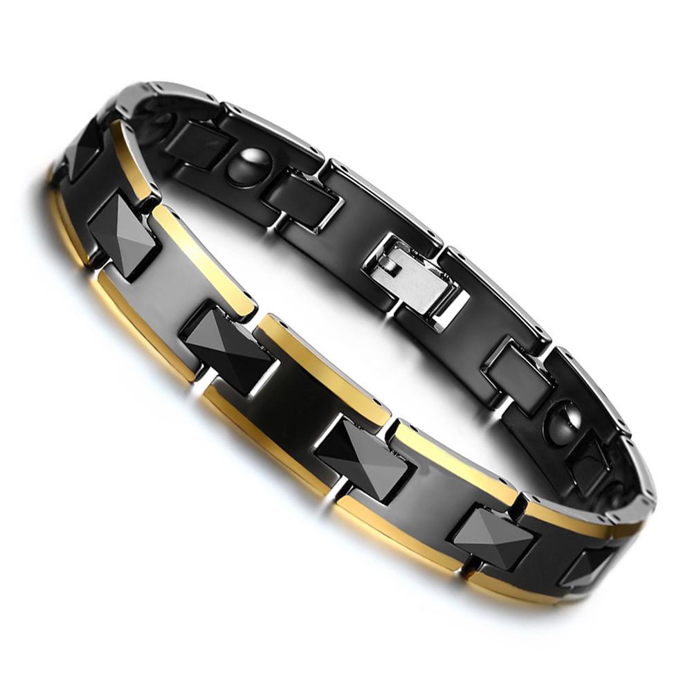 Mens Healing Energy Magnetic Hematite Bracelet Bangle Gold Plated Stainless Steel Hand Chain Link Black Ceramic Bracelet for Men(China (Mainland))