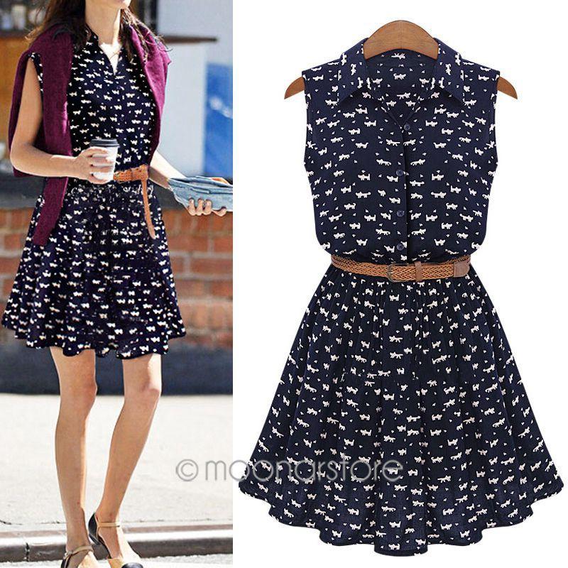 2015 new women's European summer popular cat footprints shirt dress include belt free shipping zE3253A4(China (Mainland))