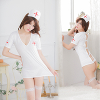 Free Shipping Girls Cute Nurse Costumes Exotic Apparel White Sexy Japan Hotsale Nurse Set