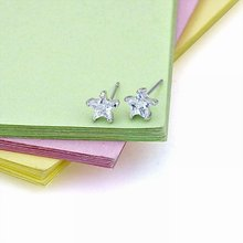 Free Shipping!!! Wholesale Quality Women's Star Style Platinum Plated & Zircons Stud Earrings, Factory Price! (81116-27)(China (Mainland))