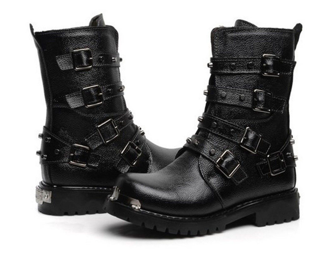 Punk Rock Ankle Boots Punk Rock Men's High Ankle