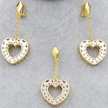Bijoux ensoleillés bijoux romantiques pour femmes collier boucles d'oreilles pendentif coeur ensembles de bijoux pour fête mariage fiançailles cadeau d'anniversaire(China)