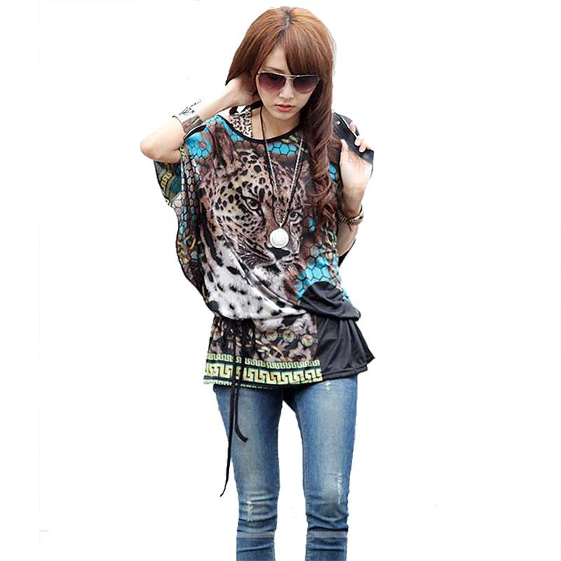 Batwing sleeve women dress Bohemian ice silk beach dresses fashion Cheetah Print plus size dresses blue dress(China (Mainland))