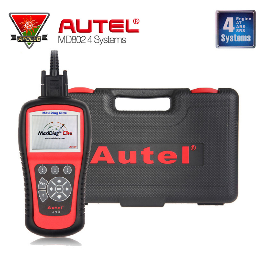2016 Top Autel Maxidiag Elite MD802 4 system +DS Model Engine+Transmission+ABS+Airbag System 4 in 1 Scan Tool DHL Shipping(China (Mainland))