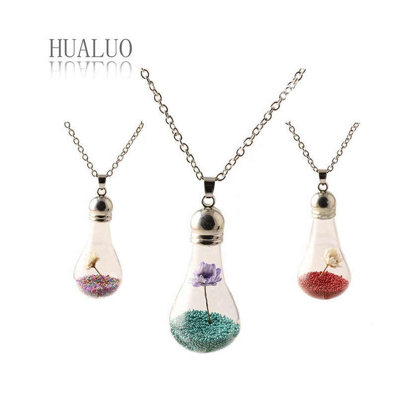 Free shipping lamp bulb design jewellery lotus flower necklace glass ball pendant(China (Mainland))