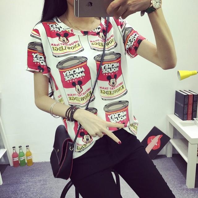 2016 женщин летняя футболка одежда рубашка o-шея широкий банки печатные с коротким рукавом дна топы бесплатная доставка