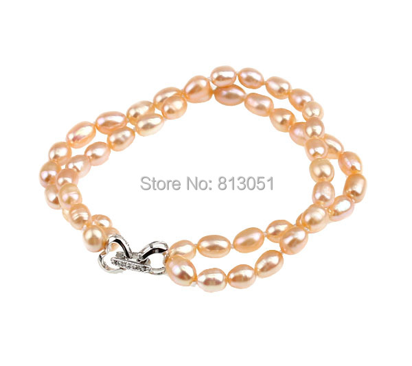 Free shipping!!!Freshwater Cultured Pearl Bracelet,Wedding Jewelry, Freshwater Pearl, brass clasp, pink, 5-6mm, Length:7.5 Inch