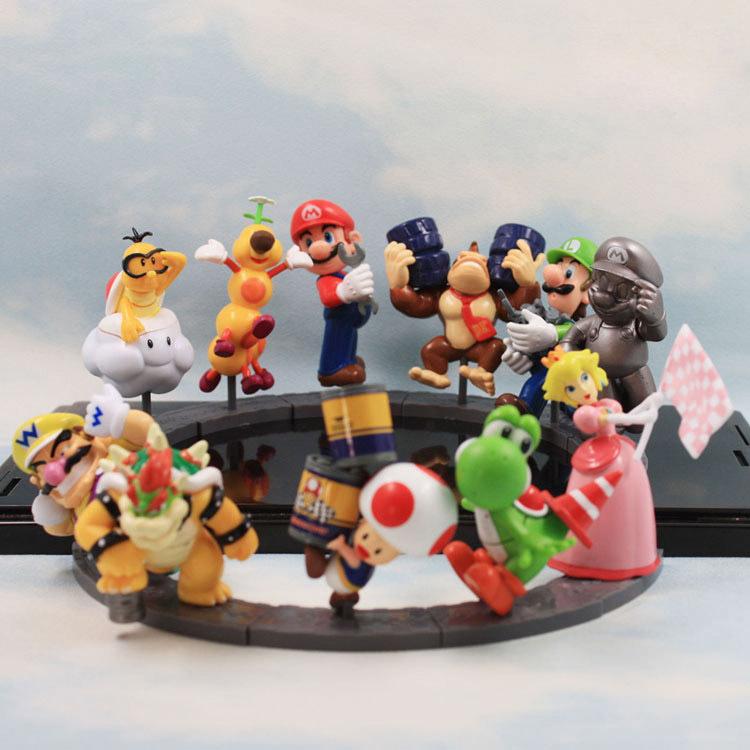 11pcs/set Super Mario Bros Peach Toad Mario Luigi Yoshi Donkey Kong PVC Action Figure Super Mario