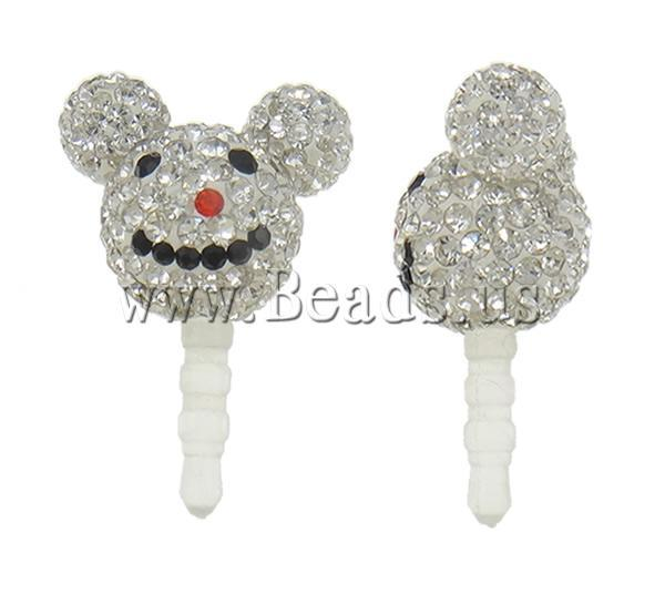 Free shipping!!!Earphone Jack Dust Cap Plugs,Brand, Clay, with Plastic,  Mouse, with rhinestone, 21x30x13.50mm, 10PCs/Bag
