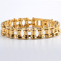 Classic Gold Color Heavy 13MM Wide 316L Stainless Steel Bracelet Biker Bicycle Motorcycle Chain Bangle For
