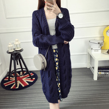Autumn and winter medium-long knitted sweater cardigan women's long-sleeve twisted loose outerwear V-neck thick