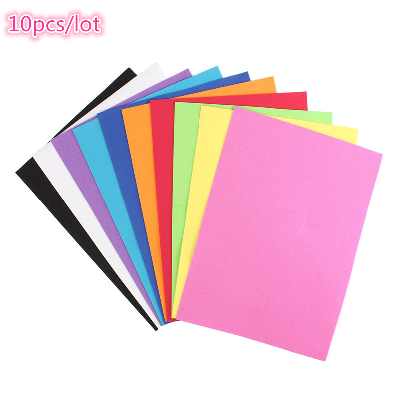 10pcs/lot Overvalue Lowest Price 10 color A4 Thick Multicolor Sponge Foam Paper Fold scrapbooking Paper Craft DIY 21*29.7*0.1cm(China (Mainland))