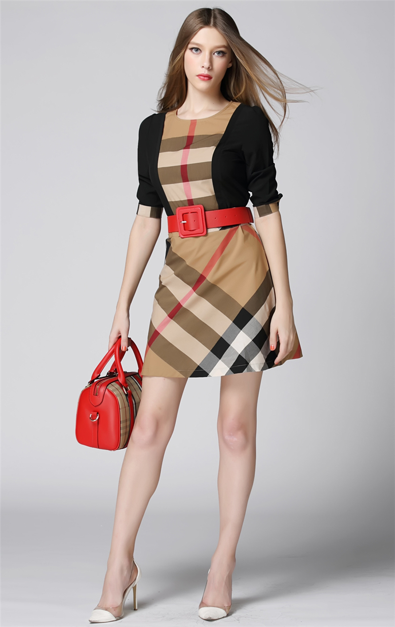 European Elegant&Fashion Style Women Dresses Ladies Plaid Patchwork Office Dress Brand Name Plus Size Women's Clothing 7062-B(China (Mainland))