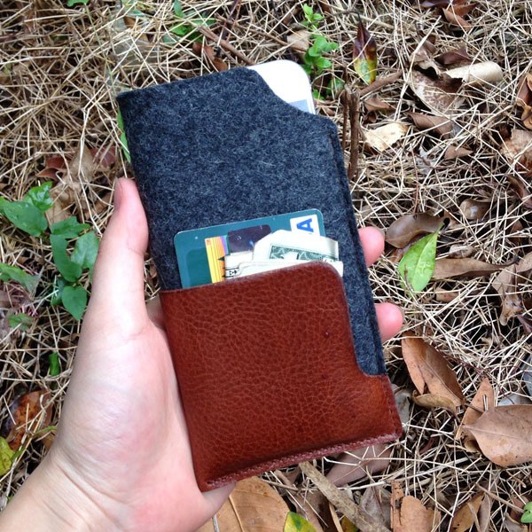 Italian vegetable tanned leather wool felt wallet case for iphone 6 top quality sleeve case for iphone 6 wholesale dropshipping(China (Mainland))