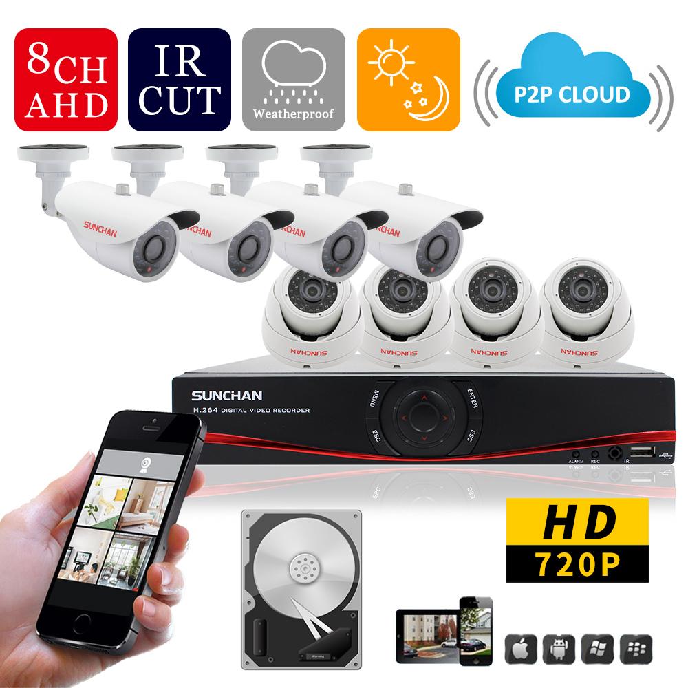 SUN CHAN 8CH CCTV System 720P HDMI AHD 8CH CCTV DVR 8PCS 1.0 MP IR Security Camera 1200TVL CCTV Camera Surveillance System 1TB(China (Mainland))