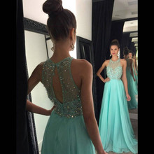 Buy A-line Prom Dresses 2016 O-Neck Sleeveless Backless Sweep Train Chiffon Crystal Long Party Dress Sexy Formal Dress for $95.40 in AliExpress store