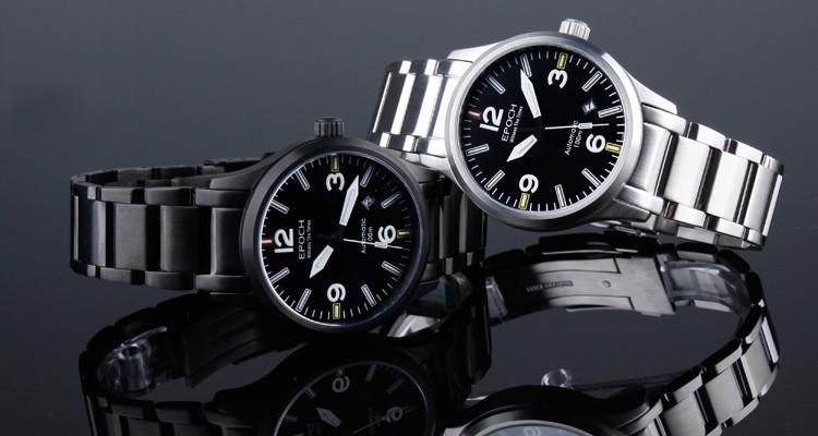 Эпоха 7009GN водонепроницаемый 100 м газообразного трития сапфир зеркало мужская бизнес автоматическая механические часы