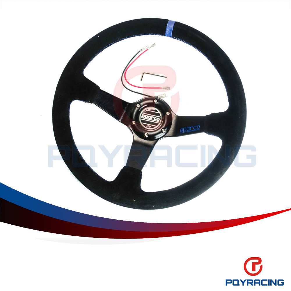 PQY STORE-New SPA Car Steering Wheel Racing Steering Wheel Deep Dish Auto Steering Wheel 350mm Suede Steering Wheel PQY-SW31B(China (Mainland))