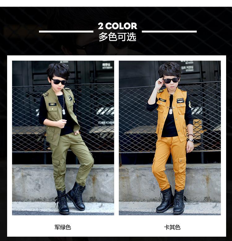 Скидки на 2016 Мальчиков моды камуфляж с длинными рукавами одежды костюм Корейских детей мальчиков твердые сильные прочный трех частей набор