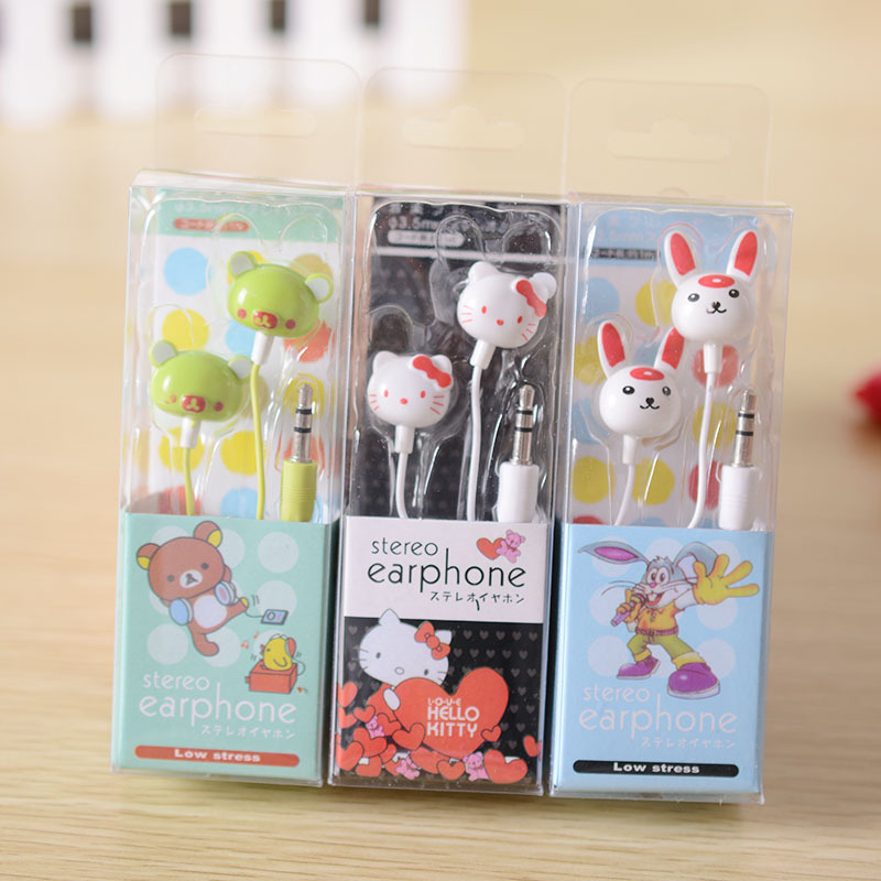 2016 Cute Cartoon Earphone For Mobile Phone MP3 MP4 for Samsung HTC OPPO Xiaomi Sony for IPhone 4 5 5s 6 6s(China (Mainland))