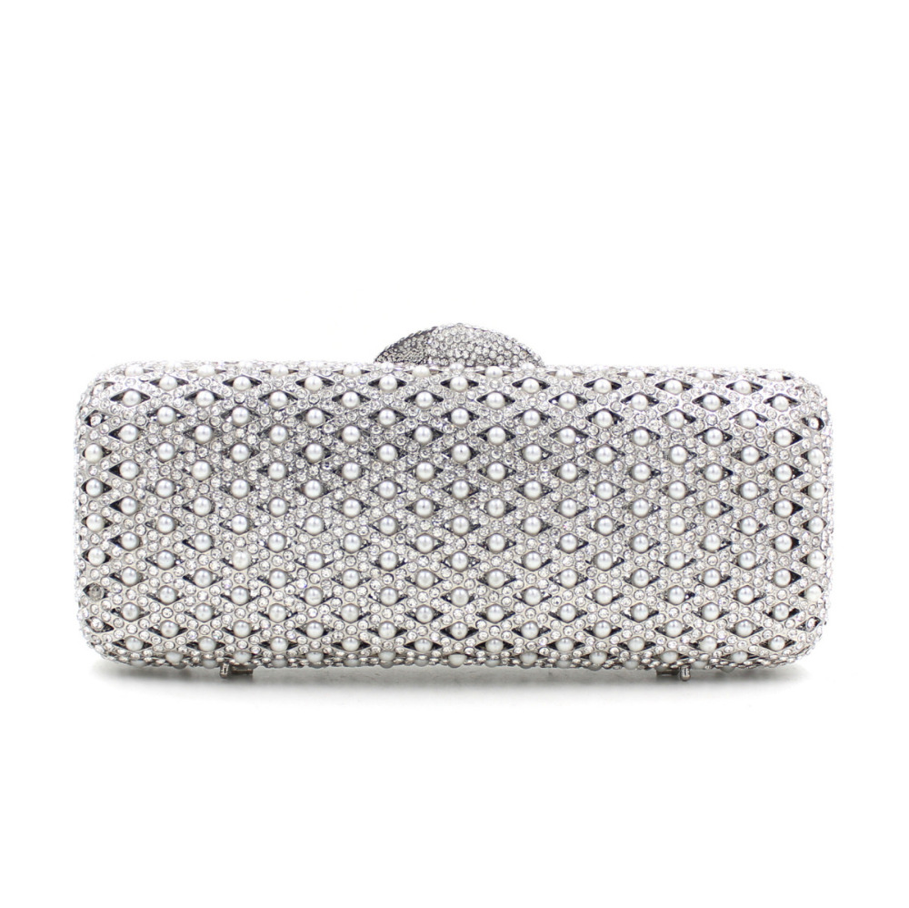 Фотография Luxury Crystal Silver Evening Bag Women Wedding Clutch Purse With Chain Lady Rhinestone Solid Day Clutches L1076