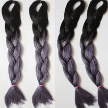 Black/Grey ombre kanekalon braiding hair High temperature wire synthetic hair weave ombre jumbo braid expression hair extension