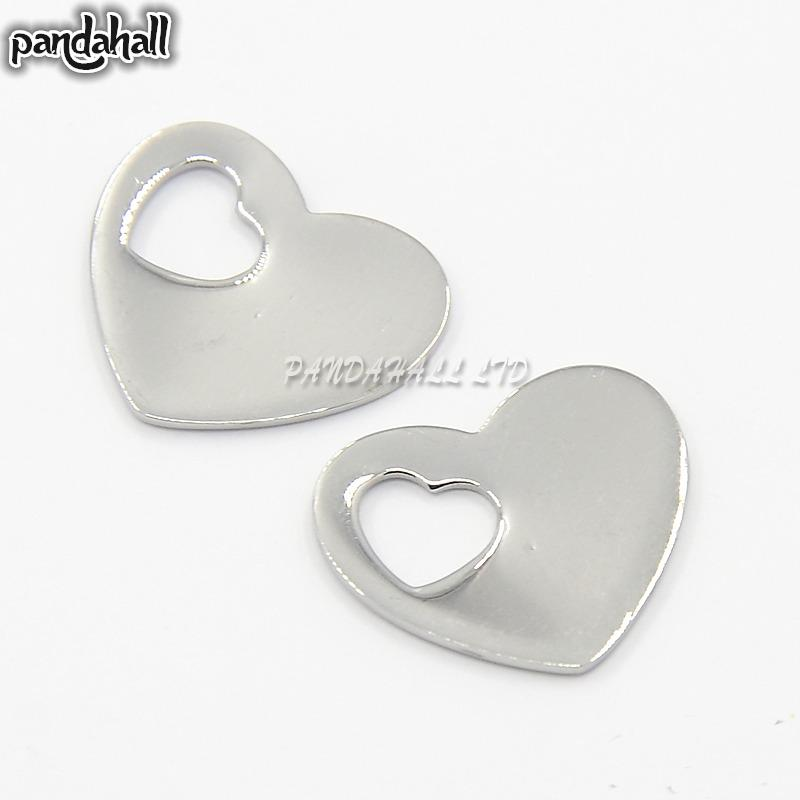 304 Stainless Steel Blank Stamping Tag Heart Charms Pendants, Stainless Steel Color, 15x18x7mm, Hole: 6x5mm<br><br>Aliexpress