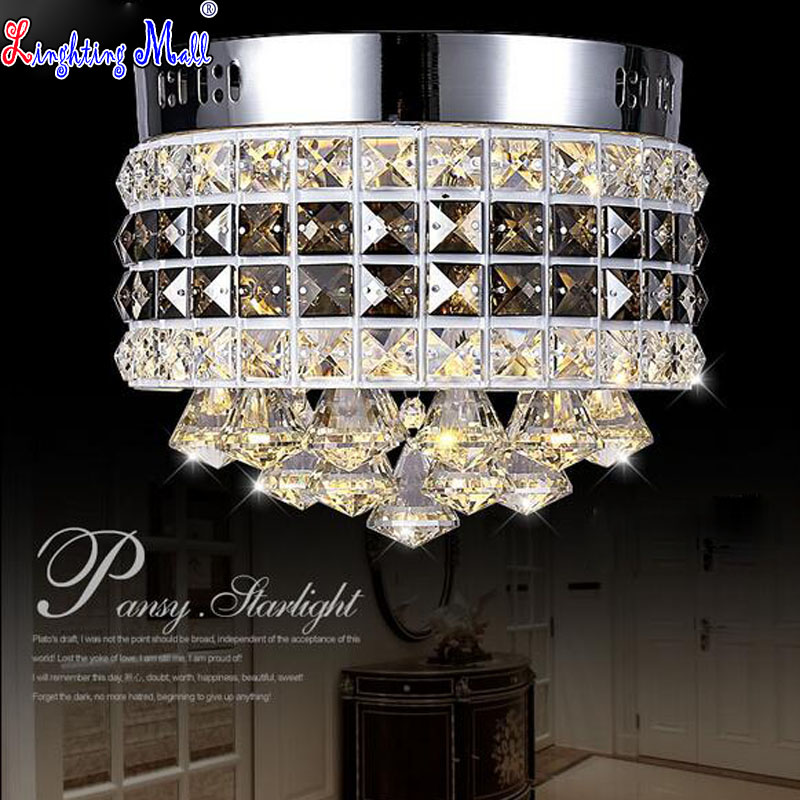 Фотография W LED K9 Crystal Round Ceiling Lamp for Bedroom and Corridor Modern and Simple Light Fixture for Balcony and Restaurant