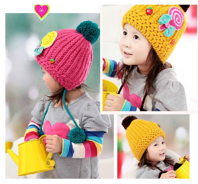 2015 Fashion Winter Baby Knitted(outside) Earflap Caps Wool(inside) Bomber Hats Children Lovely Lollipop Warm Cap Free Shipping(China (Mainland))