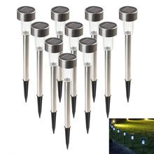 10 pz in acciaio inox per esterni led paesaggio solare luci path yard lampada mini decorazione della lampada(China (Mainland))