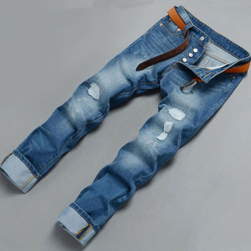 2015 Brand Men's Fashion Jeans,Blue Frayed Embroidery Patch Jeans Men,Retail&Wholesale,High Quality,C2045,Button Fly(China (Mainland))