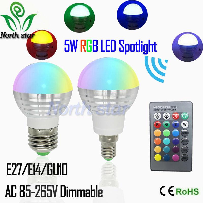 2016 New RGB LED Bulb E27 E14 5W LED Lamp Light Led Spotlight Spot light Bulb 16 Color Change Dimmable Lampada led 110v 220v(China (Mainland))