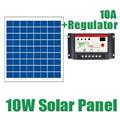 10W Solar Panels 10A 12V 24V Solar Controller 18V 10watt Solar PV cell panels module charger