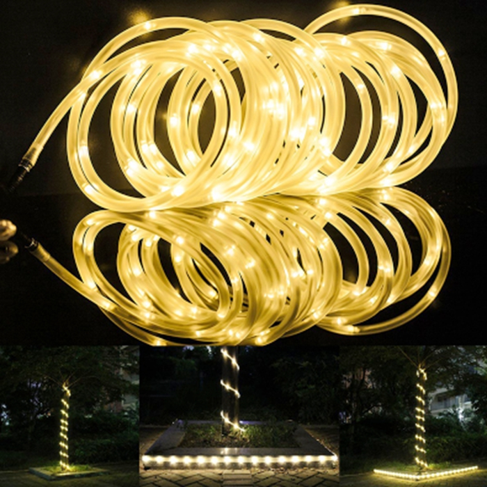 New arrivel High Quality 7M 50 LED Solar Rope Tube LED String Strip Fairy Light Outdoor Garden Xmas Party Decor Waterproof(China (Mainland))