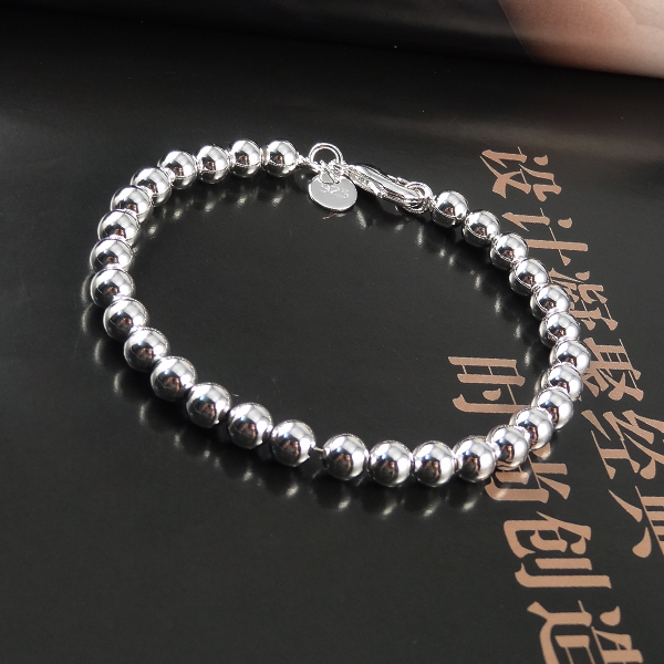 Fine Jewelry Pulseras 925 Silver Bracelet Men Fashion 8mm Bead Bracelets Bangles BG012