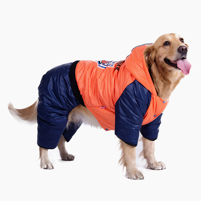 Cotton Acrylon Dog Clothing Autumn Winter Waterproof Clothes For Pet Big Dog Golden Red Orange Warm Snow Down Coat F-bsxr(China (Mainland))