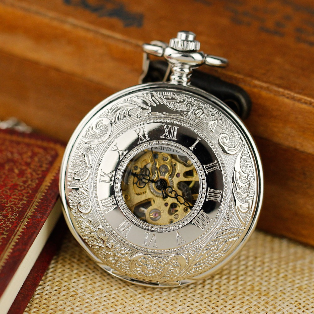 PACIFISTOR Pocket Watch Antique Mechanical Skeleton Dress Pocket Watch Necklace Pendant Chain Gift Silver Relogio 2015