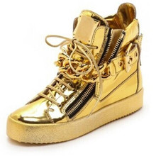 2015 New designer men Gold shoes High Top Zipper Lace Up shoes Casual Shoes with Big Chains Wholesale Cheap Price(China (Mainland))