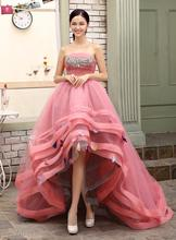 2016 Strapless Pink Quinceanera Dress Sweet 16 Dresses Appliques Beaded Silvery Crystals High Low Bridal Gowns(China (Mainland))