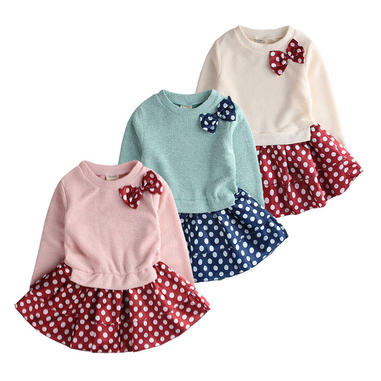2015 Free shipping Children princess dress Korean children's clothing spring solid color dot bow dress stitching children(China (Mainland))
