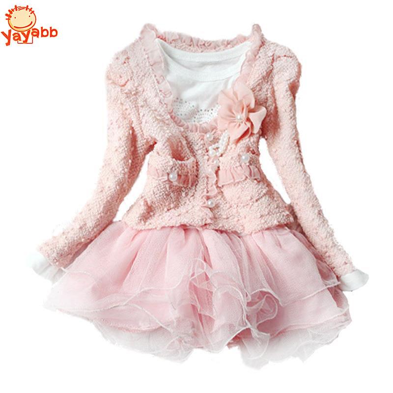 Autumn Winter Lolita Girl Dress Floral Children`s Dress Kids Dresses For Girls 2Pc/set Coat+Dress Toddler Girl Clothing(China (Mainland))